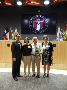 "From left: Environmental Program Coordinator Marc Coudert, Co-Director Gail Vittori, Co-Director Pliny Fisk, and Chief Sustainability Officer Lucia Athens at City Hall after CMPBS received the 2013 Austin Green Business Leaders ""Best Overall"" Award"