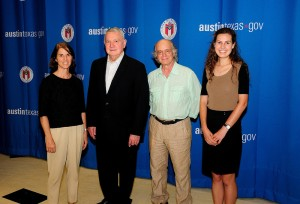 From left: Co-Director Gail Vittori, City of Austin Mayor Lee Leffingwell, Co-Director Pliny Fisk, and Sustainability Associate/Administrative Director Elena Carey at the 2013 Austin Green Business Leaders Recognition Event at City Hall